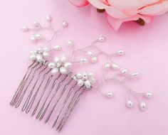Freshwater Pearl wedding haircomb, gold, silver, hair vine pearl spray, crystals, hair pin, bun, ponytail, Ivory brides, bridesmaids, proms. by SophiabeauBridal on Etsy
