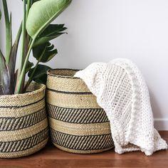 African Grass Baskets | Black & Natural