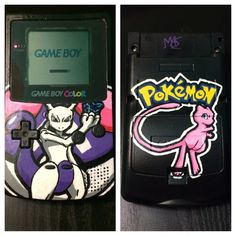 Custom Hand Painted Mewtwo GameBoy Color with Mew Back by GameTattoos on Etsy