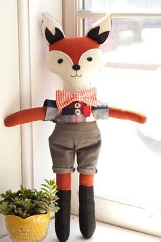 Plaid Mr. Fox Doll. via Etsy.