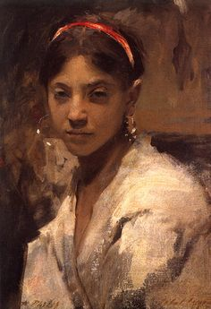 "John Singer Sargent ""Head of a Capri Girl""  Rosina Ferrara Sargent's muse in Capri 1878  Oil on canvas 9 x 10 in."