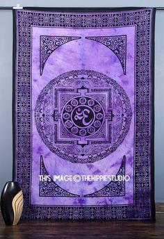 Om Mandala Tapestries Meditation Hippie by TheHippieStudio on Etsy