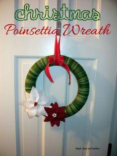 DIY Felt and Yarn Christmas Poinsettia Wreath.