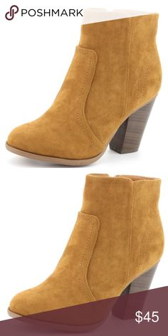 """12732e34339f Best Seller Nature faux suede tan 3.25"""" BOOTIE I was tickled Tan when I  discovered"""