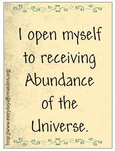 Affirmations for Abundance, Daily Affirmations