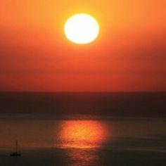 Por do sol na Bahia de Todos os Santos.