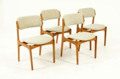 Set 4 Teak Dining Chairs by Erik Buck