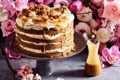 Carrot layer cake with burnt-butter whisky sauce Carrot Spice Cake, Best Carrot Cake, Carrot Cakes, Baked Carrots, Sweet Recipes, Cake Recipes, Dessert Recipes, Burnt Butter Sauce, Desert Recipes