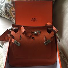 hermes hermes jypsiere shoulder bag orange poppy