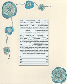 Blue Floral Ketubah Print Marriage Contract with Hebrew and