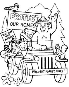 smokey the bear coloring pages # 9