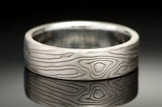 Mokumé Gane White Gold and Sterling Silver Etched Ring