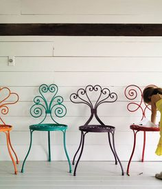 Grab some spray paint and make rainbow patio chairs! Todays project, hubby bought me the best vintage set for my birthday! Yay think i'm going neon tho. Decor, Furniture, Colorful Chairs, Painted Furniture, Home Decor Decals, Iron Furniture, Painted Chairs, Inspiration, Cool Chairs