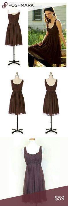 Moulinette Soeurs Brown Tulle Sleeveless Dress Moulinette Soeurs Brown Tulle Sleeveless Dress. Lined. Side zip. Puckering at bust in combination w/ corded belt give a flattering shape. EUC  Bust 17 (flat) Length 38  No Trade or PP Bundle discounts Offers Considered Anthropologie Dresses
