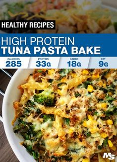High Protein Tuna Bake Pasta This high protein tuna bake recipe is a delicious dish that is perfect post-workout, easy to make and only requires some simple household ingredients! High Protein Dinner, High Protein Snacks, High Protein Low Carb, High Protein Recipes, Healthy Recipes, Healthy High Protein Meals, Healthy Sweets, Baked Pasta Recipes, Fish Recipes