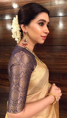 'I think that playing dress up begins at age five and never truly ends. Silk Saree Blouse Designs, Saree Blouse Patterns, Sari Blouse, Saree Dress, Golden Saree, Golden Blouse Saree, Brocade Blouses, Wedding Wear, Saree Wedding
