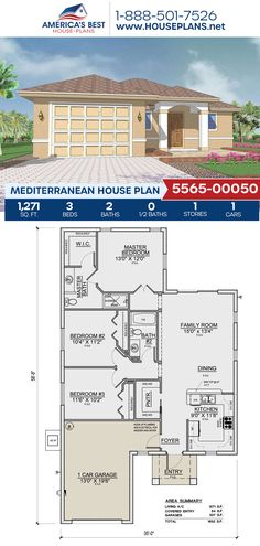 Complete with lovely Mediterranean details, Plan 5565-00050 features 1,271 sq. ft., 3 bedrooms, 2 bathrooms, and an open floor plan. #architecture #houseplans #housedesign #homedesign #homedesigns #architecturalplans #newconstruction #floorplans #dreamhome #dreamhouseplans #abhouseplans #besthouseplans #newhome #newhouse #homesweethome #buildingahome #buildahome #residentialplans #residentialhome Best House Plans, Dream House Plans, Mediterranean House Plans, Stucco Exterior, Common Room, Open Floor, New Construction, Square Feet, Sims 4