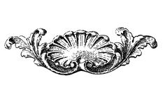 Antique Black and White French Shell Ornament Image!