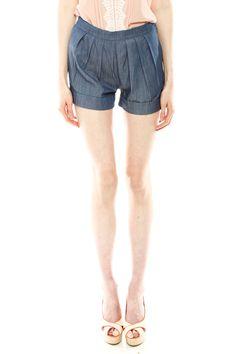Denim Chambray Shorts....shorts and heels!