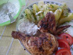 Omáčka tzatziki ke grilovaným masům - www. Tzatziki, Meat, Chicken, Food, Essen, Meals, Yemek, Eten, Cubs