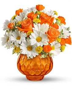 Happy as a country sunrise, this delightful bouquet features orange roses and white daisies in orange cut-glass votive bowl. When the flowers are gone, they can light a candle and have indoor sunshine forever. Amazing Flowers, Beautiful Roses, Silk Flowers, Spring Flowers, Beautiful Flowers, Yellow Flowers, Beautiful Flower Arrangements, Floral Arrangements, Deco Floral