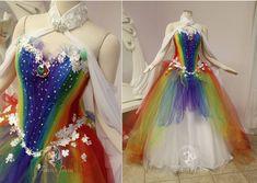 Cute Prom Dresses, Pretty Dresses, Beautiful Dresses, Wedding Dresses, Rainbow Wedding Dress, Rainbow Dresses, Rainbow Clothes, Dress Outfits, Fashion Outfits