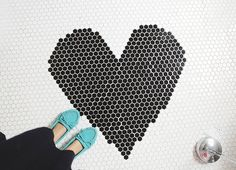 Love the pop of turquoise with the black and white tiled floor! Snapshots via Skunkboy Room Of One's Own, Happy Thoughts, Turquoise, Black And White, Blog, House, Inspire, Interiors, Inspiration