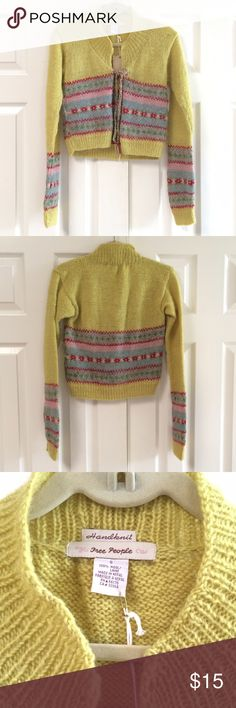 "NWT Free People Cropped Cardigan Sweater *100% wool *Hand knit.   *The color is across of yellow/green but has many other colors such as green gray pink Rose and off-white in the stripes *Has a string tie in the front.  *Sweater is a loose knit so the stitches are not uniform in the entire sweater. *Flat bust across is 16"". Shoulder to hem is 17"". *NO TRADES, FOR OFFERS PLS USE OFFER BUTTON Free People Sweaters Cardigans"