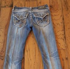 Miss Me Women's Jr's Embellished Bootcut Jeans Size 25 Flap Back Pockets #MissMe…