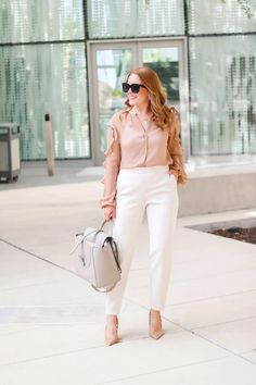 Work Neutral Look For Now And Later - Oh What A Sight To See Cute Work Outfits, Summer Outfits, Summer Work Wear, Neutral Outfit, Professional Outfits, White Pants, Work Pants, Wool Coat, New Look