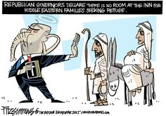 David Fitzsimmons - The Arizona Star - COLOR No room at the inn - English - syrian refugees