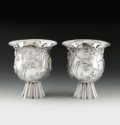 Dagobert Peche  St. Michael im Lungau, Salzburg 1887-1923 Mödling bei Wien Two Rare Goblets, 1923  Technic  Manufactured by the Wiener Werkstätte, model number S va 18 - S 5381 Silver Marks on each goblet: 900, WIENER WERKSTÄTTE, MADE IN AUSTRIA, wand of Mercury, monogram P H 23.3 cm each