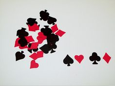 100 Game/Poker Night Confetti Pieces  Super cute bright red and black game night confetti.. Great for all your decorating needs, especially Bachelor parties. Scrap-booking, card making, birthday parties, or use a confetti and sprinkle on the party table.   Created from quality card stock paper in a smoke free home.   Package contains 100 pieces. They measure approximately 1 tall.  25 of each ~ spade, heart, club, diamond   ~ CUSTOM ORDERS ALWAYS WELCOME ~  Coordinating Cupcake Topprs htt...