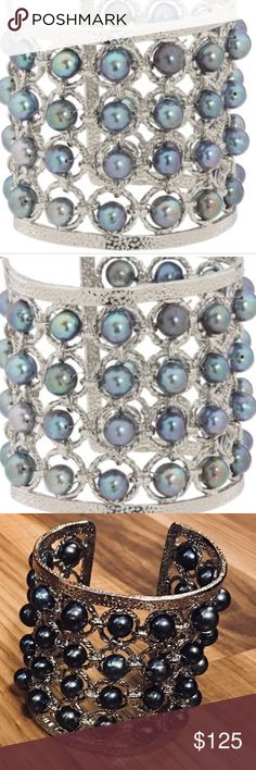 RARE VINTAGE KENDRA SCOTT DAVONNE CUFF BRACELET RARE!!!  Brand new, never worn. Silver/Pearl  Downsizing my Kendra Scott collection.  Visit My Closet for more KS pieces.  Comes from a smoke free home. Bundle & SAVE! Kendra Scott Jewelry Bracelets