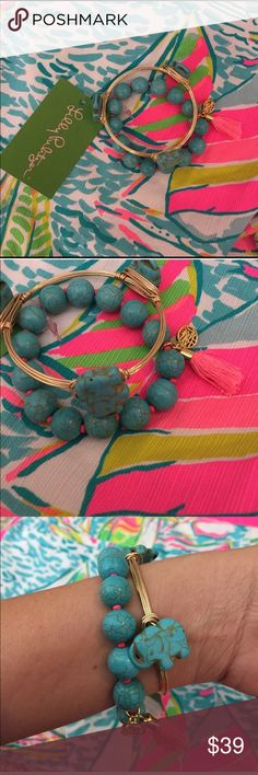 """Lilly Pulitzer Turquoise Tassel Bracelet Set Lilly Pulitzer Turquoise Tassel Bracelet Set paired with a hand made wire wrapped bracelet featuring elephants 🐘 Handmade Bracelet measures Standard 7.5"""" in diameter. No trades. No dealing outside of Poshmark. Thanks for shopping with us! Lilly Pulitzer Jewelry Bracelets"""