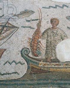 Tunisia, Dougga, Mosaic depicting lobster fishing from Ulysses and the Sirens' island (3rd cent. AD) - Bardo Museum, Tunis