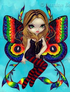 Big Eyed Fairy Art : Vivid Wings - Fairy Art by Jasmine Becket. ❣Julianne McPeters❣ no pin limits Amy Brown, Gothic Artwork, Fairy Pictures, Gothic Pictures, Gothic Fairy, Gothic Angel, Cute Fairy, Butterfly Fairy, Reborn