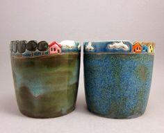 Oak Lane Cups - pair by elukka on Etsy