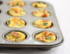 4 large eggs, 1/4 cup milk, toppings.  Preheat oven to 180. Whisk together milk and eggs, then evenly distribute the egg mixture among the muffin cups. Then add extras (cheese, peppers etc.).  Bake for about 15 minutes.