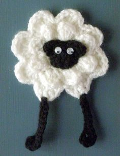 Free crochet pattern for Sheep Refrigerator Magnet  http://sayverysweetthings.com/patterns/patterns/sheep-refrigerator-magnet/