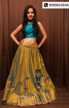 Cream And Sky Blue Metti Semistitched Lehenga Choli with a long top Choli Designs, Lehenga Designs, Blouse Designs, Indian Lehenga, Lehenga Choli, Blue Lehenga, Lehenga Blouse, Indian Attire, Indian Wear