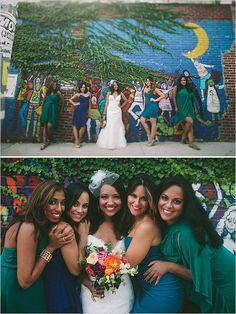 in a sea of blue and green bridesmaid dresses. love these colors! #bridesmaids http://www.weddingchicks.com/2013/11/18/inner-city-wedding/