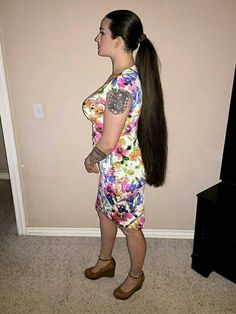 Love the dress...MKS High Ponytail Hairstyles, Long Ponytails, Hair Ponytail, Long Hairstyle, Thick Braid, Long Hair Video, Silky Hair, Beautiful Long Hair, Hair Videos