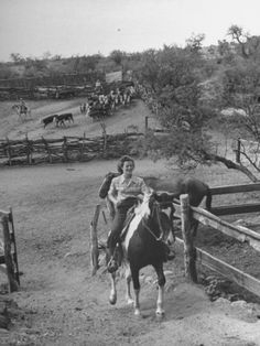 Actress Barbara Hale, Riding Horse While on a Camping Trip
