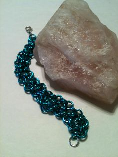 Barrel Weave Silver and Turquoise Color Chainmaille Bracelet on Etsy at ForChainMailleOnly by ForChainMailleOnly on Etsy