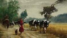 1920 - on the road, Jakub Rozalski on ArtStation at https://www.artstation.com/artwork/1920-on-the-road