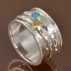 925 SOLID STERLING SILVER Turquoise Spinner RING 8.37g DJR10026 SZ-7.75…