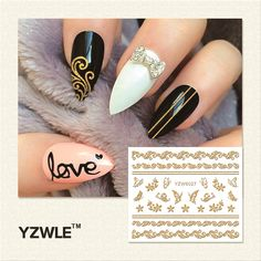 0.10$ (Buy here: http://alipromo.com/redirect/product/olggsvsyvirrjo72hvdqvl2ak2td7iz7/32643213220/en ) YZWLE 1 Sheet DIY Hot Gold 3D Decal Nail Art Stickers Decorations Tool For Manicure Salon (YZW-6027) for just 0.10$