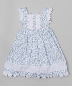 This White & Blue Floral Dress - Infant, Toddler & Girls by Laura Ashley London is perfect! #zulilyfinds