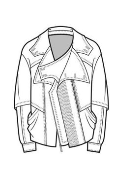 technical drawings for jackets Fashion Design Template, Fashion Templates, Pattern Fashion, Flat Drawings, Flat Sketches, Technical Drawings, Clothes Draw, Drawing Clothes, Fashion Design Portfolio